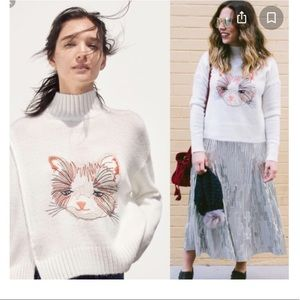 ANTHRO MOTH CAT EMBROIDERED MOCK XS SWEATER